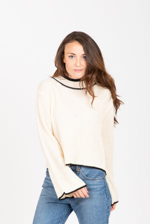 The Aidan Bell Sleeve Mock Neck Sweater in Cream