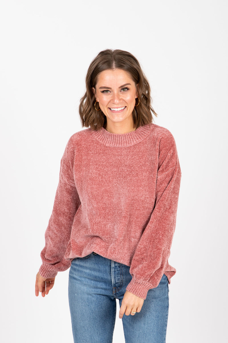 The Bradley Cozy Mock Neck Sweater in Rose, studio shoot; front view
