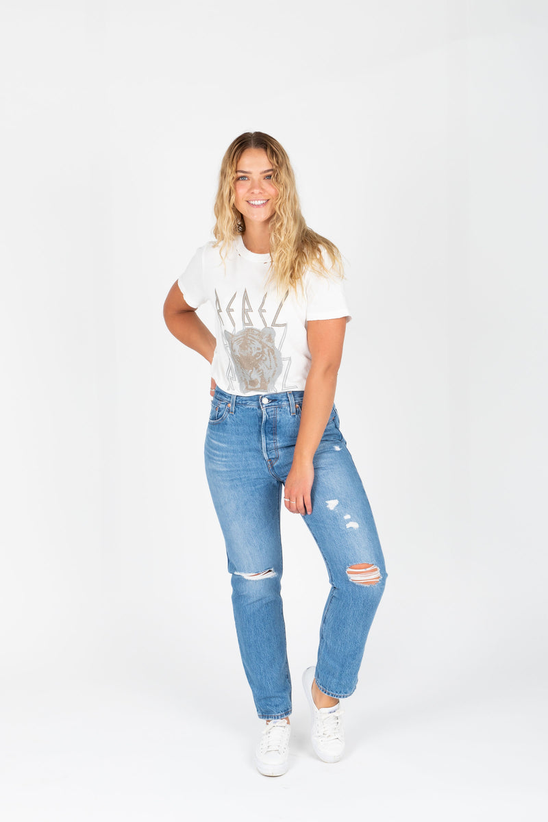 Levi's: 501 Original Fit Jeans in Medium Wash, studio shoot; front view