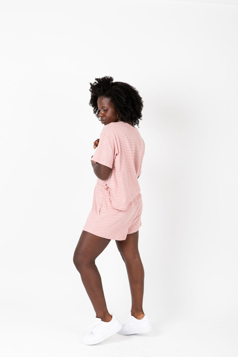 , The Maura Striped Casual Lounge Set in Rose, studio shoot; side view