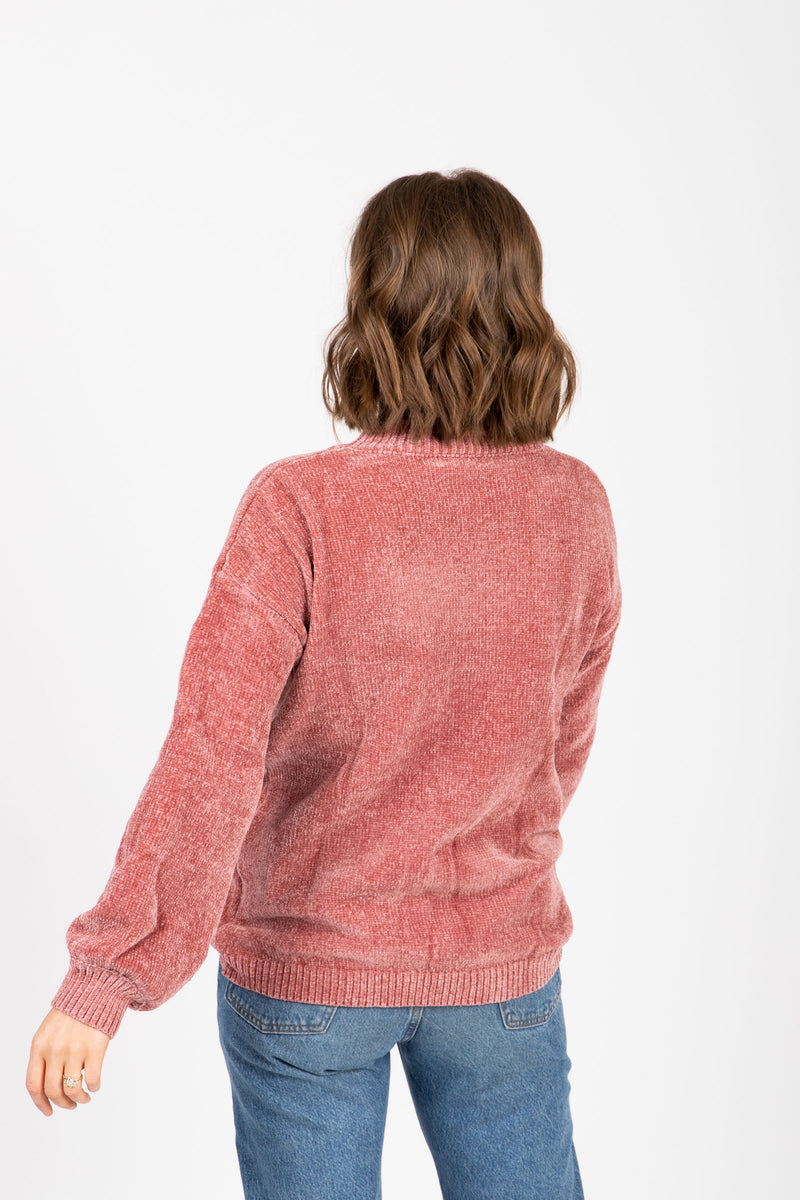 The Bradley Cozy Mock Neck Sweater in Rose, studio shoot; back view