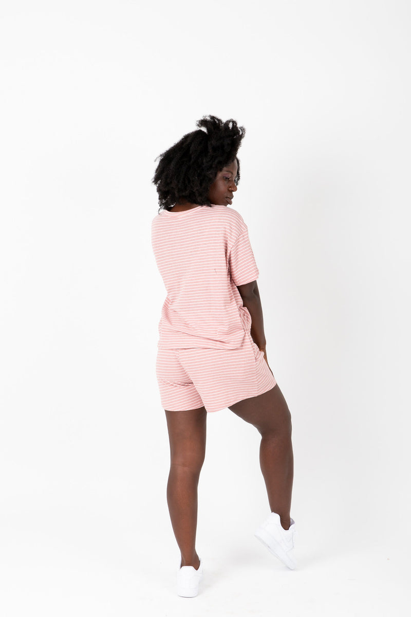 , The Maura Striped Casual Lounge Set in Rose, lifestyle shoot; back view