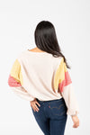 The Dorian Contrast Waffle Blouse in Tan, studio shoot; back view