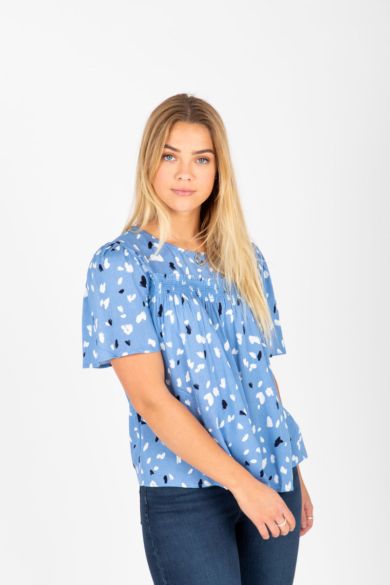 The Jolene Patterned Detail Blouse in Periwinkle, studio shoot; front view