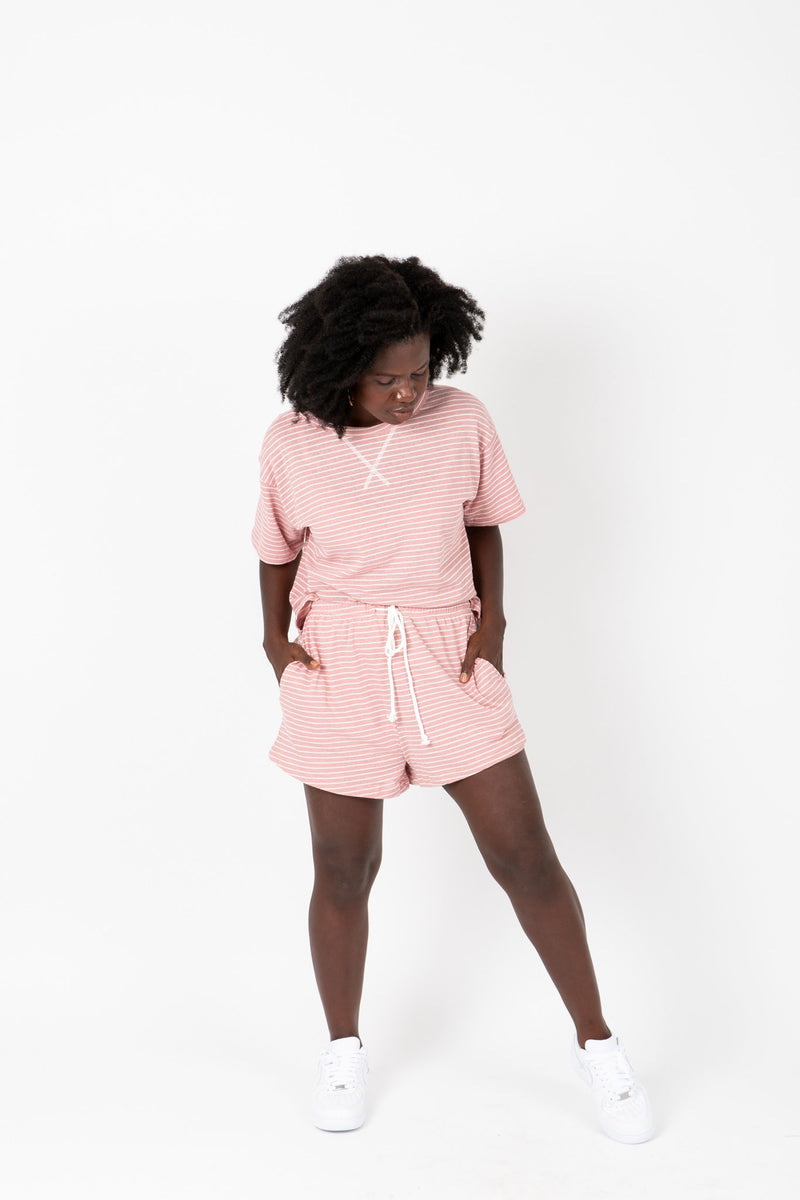 , The Maura Striped Casual Lounge Set in Rose, studio shoot; front view