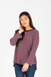 The Arthur Striped Tee in Burgundy, studio shoot; front view