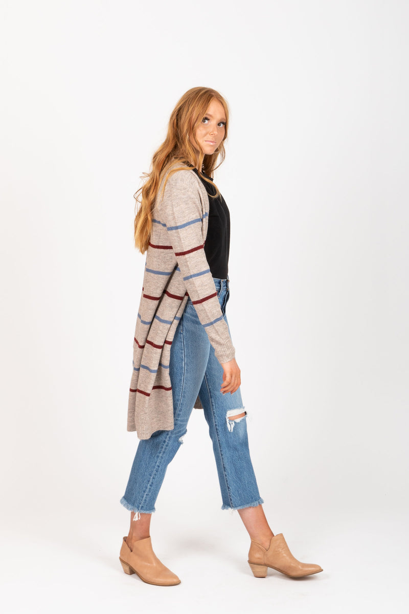 The Janet Striped Long Cardigan in Oatmeal