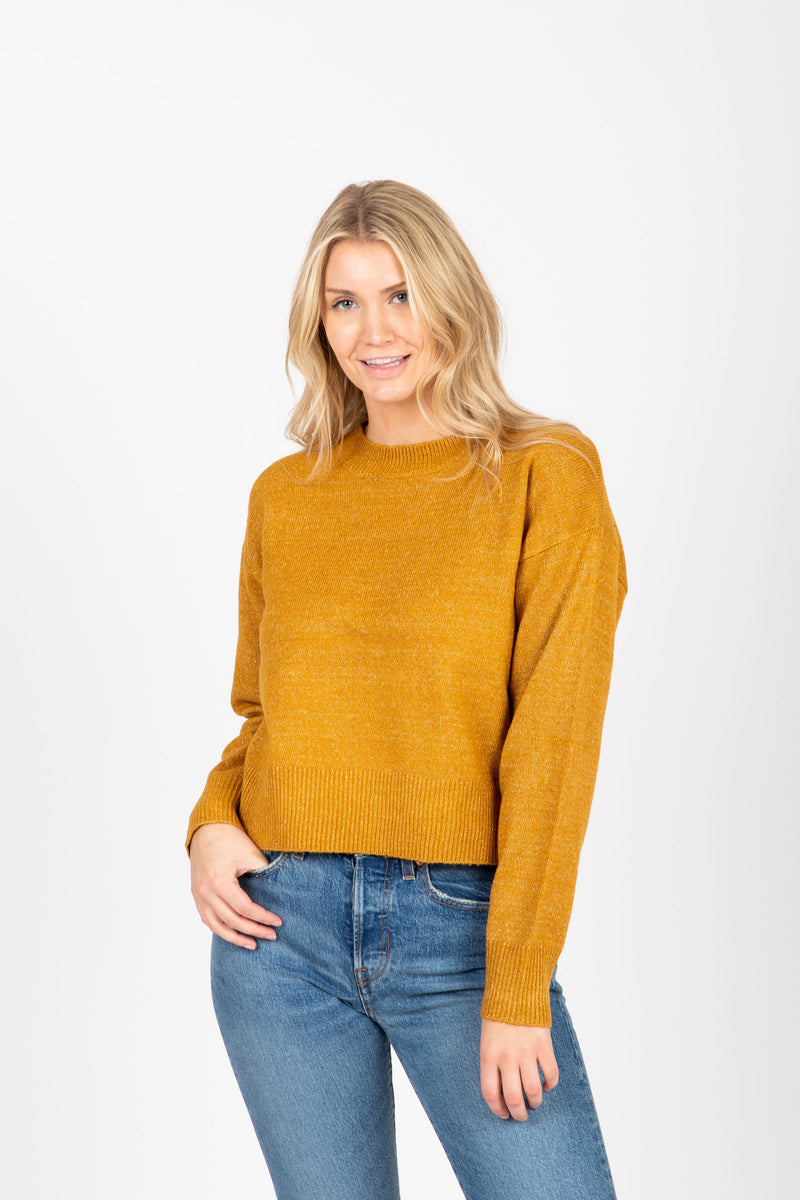 The Street Casual Sweater in Mustard, studio shoot; front view