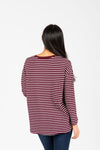 The Arthur Striped Tee in Burgundy, studio shoot; back view