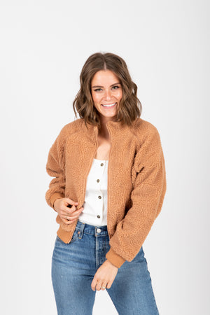 The Core Teddy Jacket in Tan, studio shoot; front view