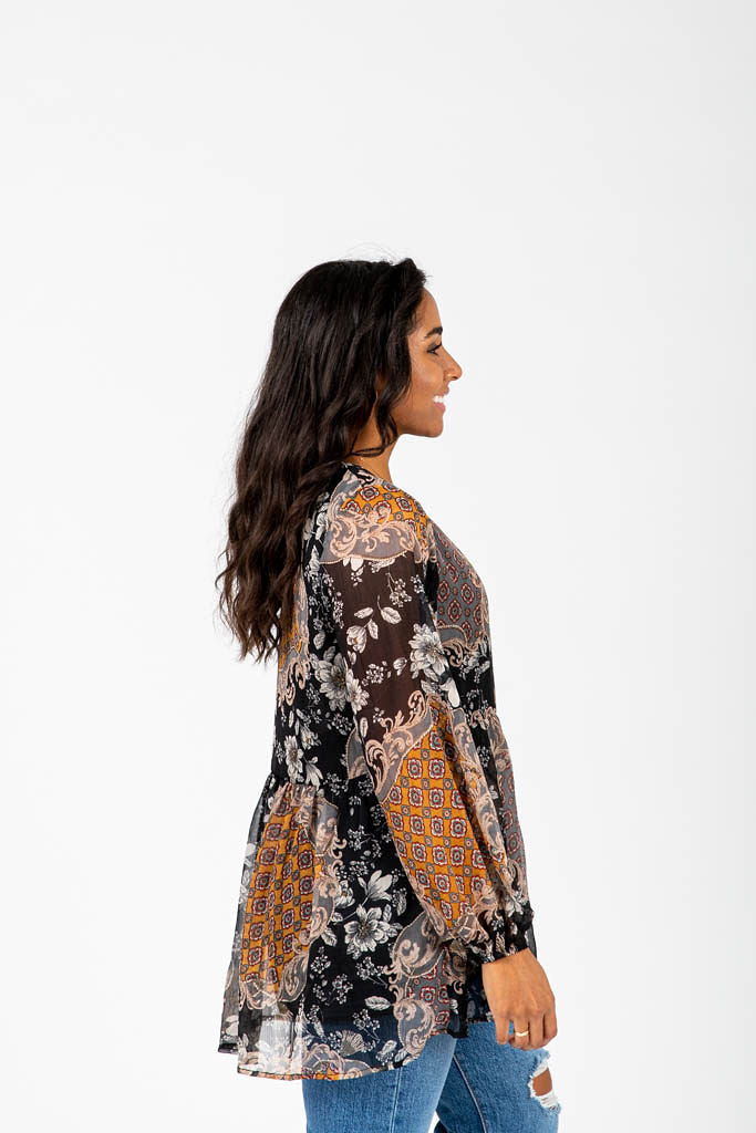 The Bonham Floral Pattern Blouse in Black Multi, studio shoot; side view