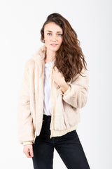 The Cozy Fur Zip Up Jacket in Natural
