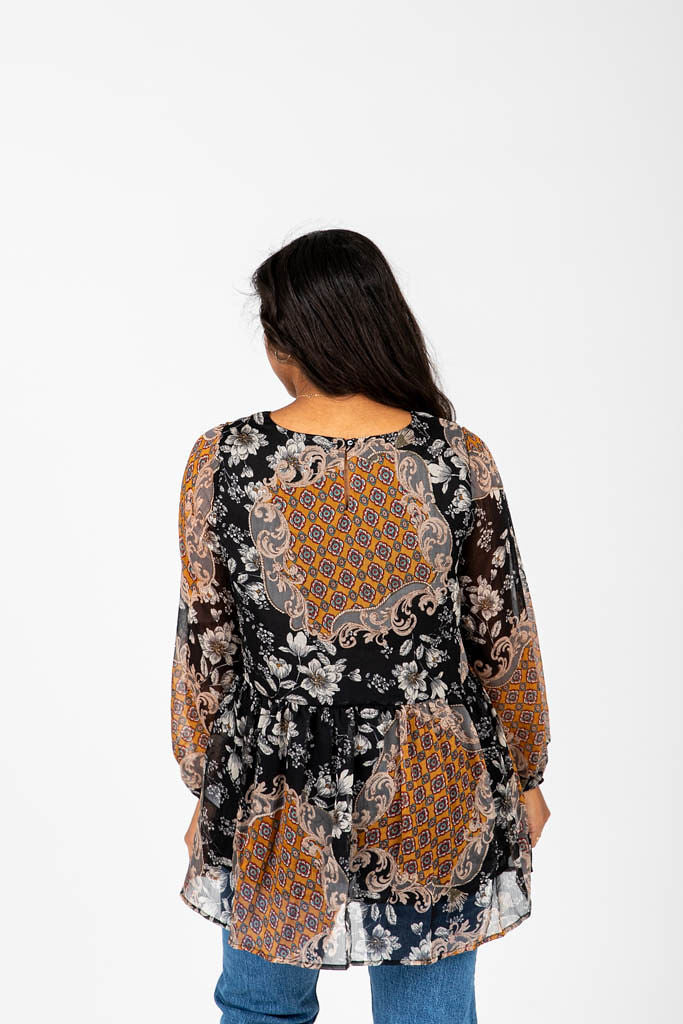 The Bonham Floral Pattern Blouse in Black Multi, studio shoot; back view