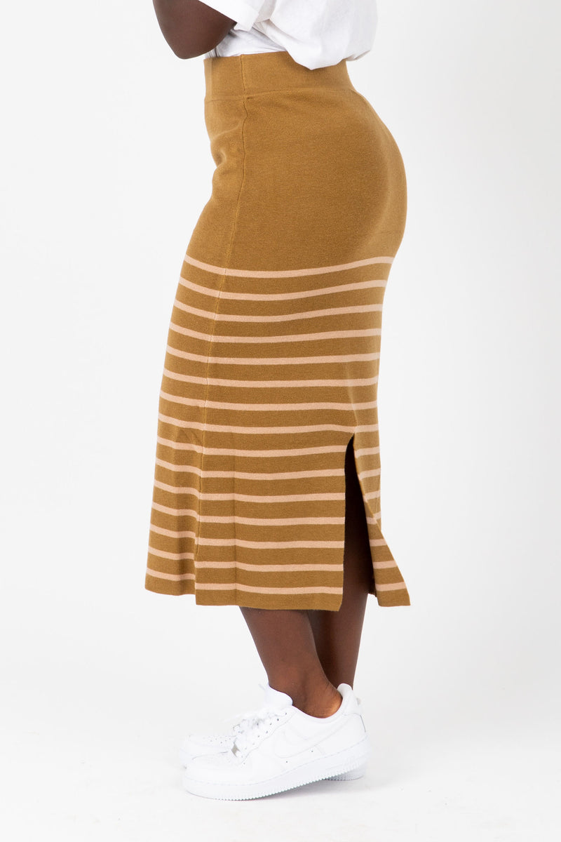 The Monica Knit Pairing Skirt in Herb, studio shoot; side view