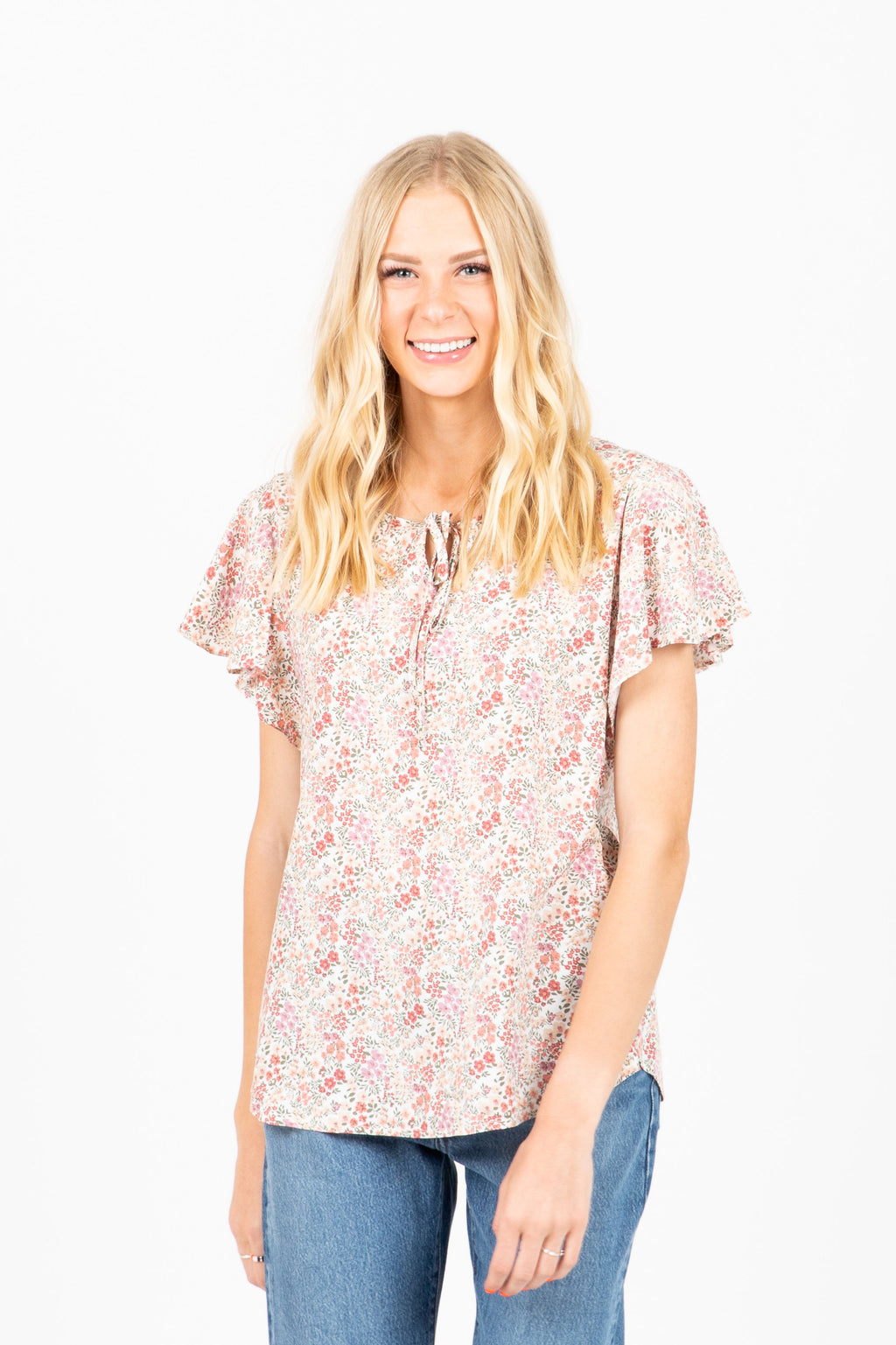 The Katrina Floral Flutter Sleeve Blouse in Cream