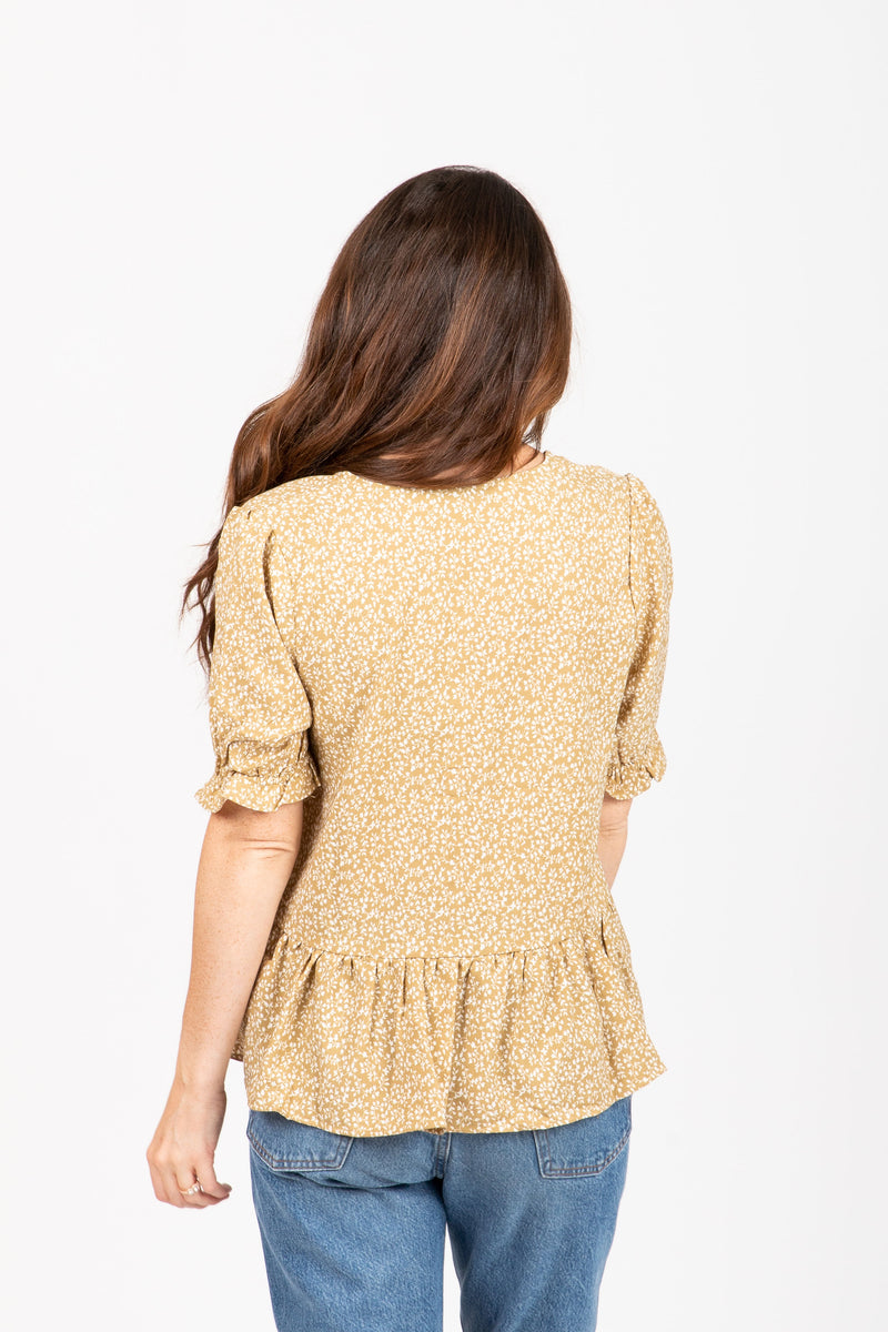 The Kinjin Floral Button Peplum in Pale Mustard