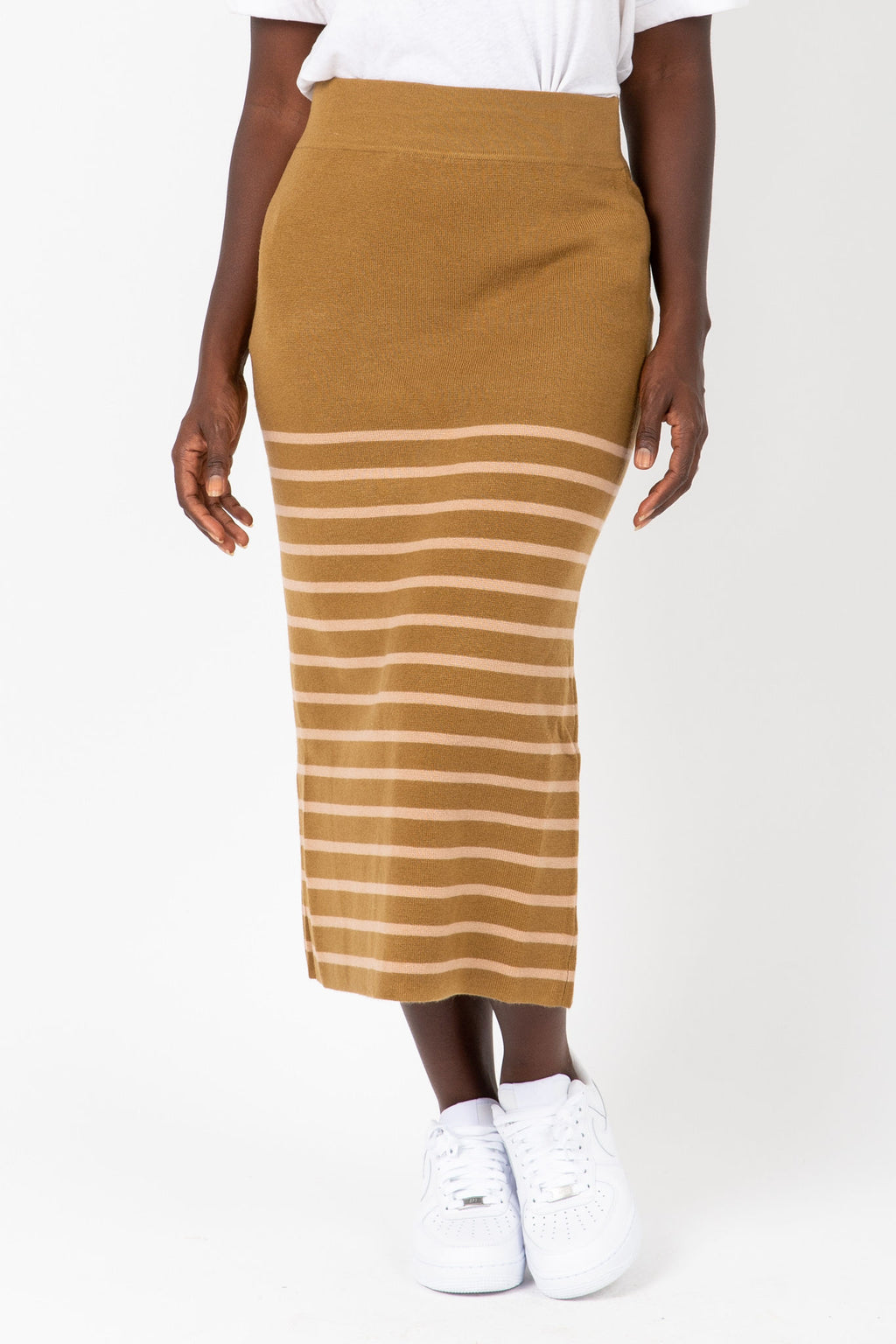 The Monica Knit Pairing Skirt in Herb, studio shoot; front view