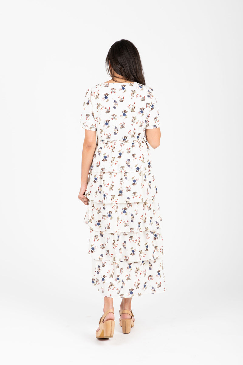 Piper & Scoot: The Fanfare Floral Tiered Ruffle Dress in White