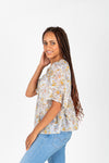 The Billy Sheer Floral Tiered Blouse in Taupe