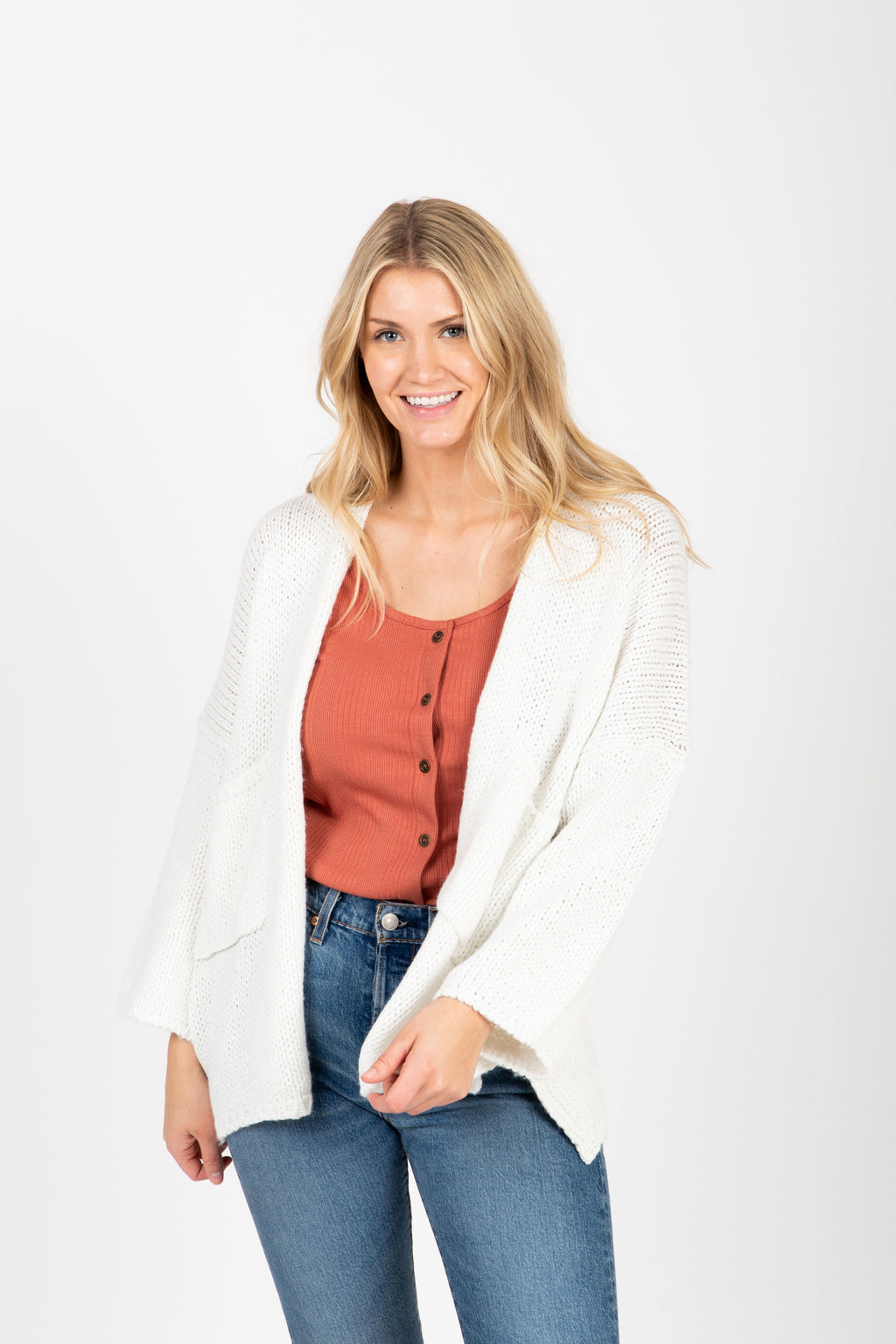 The Soul Pocket Knit Cardigan in Ivory, studio shoot; front view