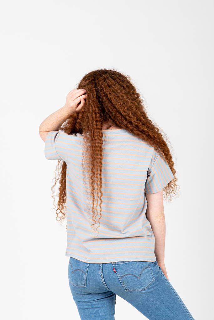 The Neville Striped Tee in Light Grey, studio shoot; back view