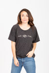 The Muah Embroidered Tee in Heathered Black