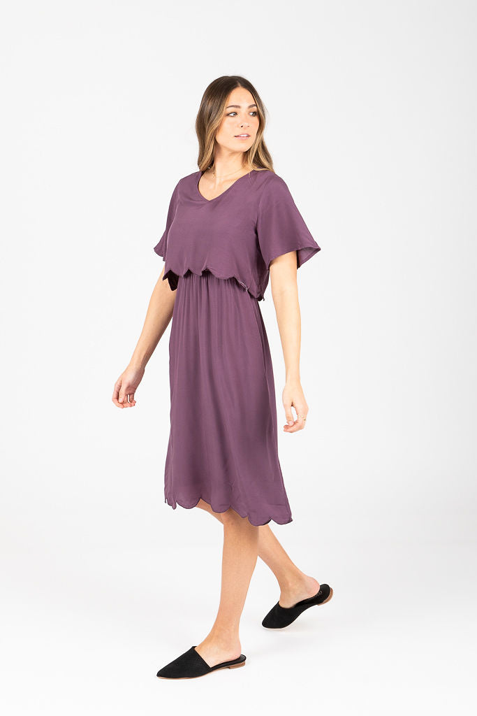 Piper & Scoot: The Brynley Scalloped Bib Dress in Plum