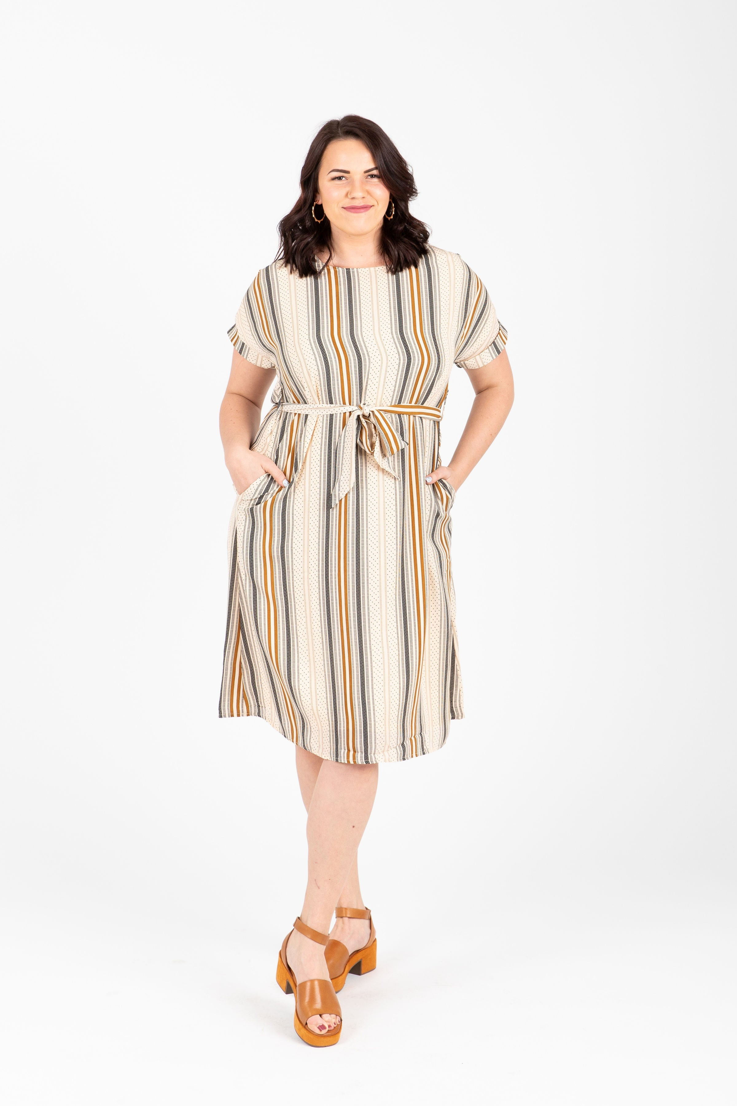 Piper & Scoot: The Nicole Striped Tie Around Shift Dress in Multi
