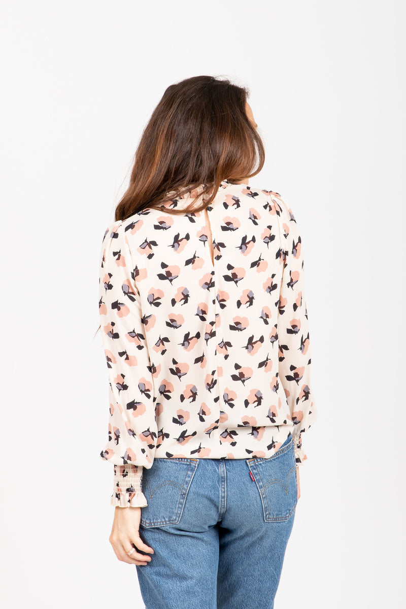 The Rally Floral Mock Neck Blouse in Blush