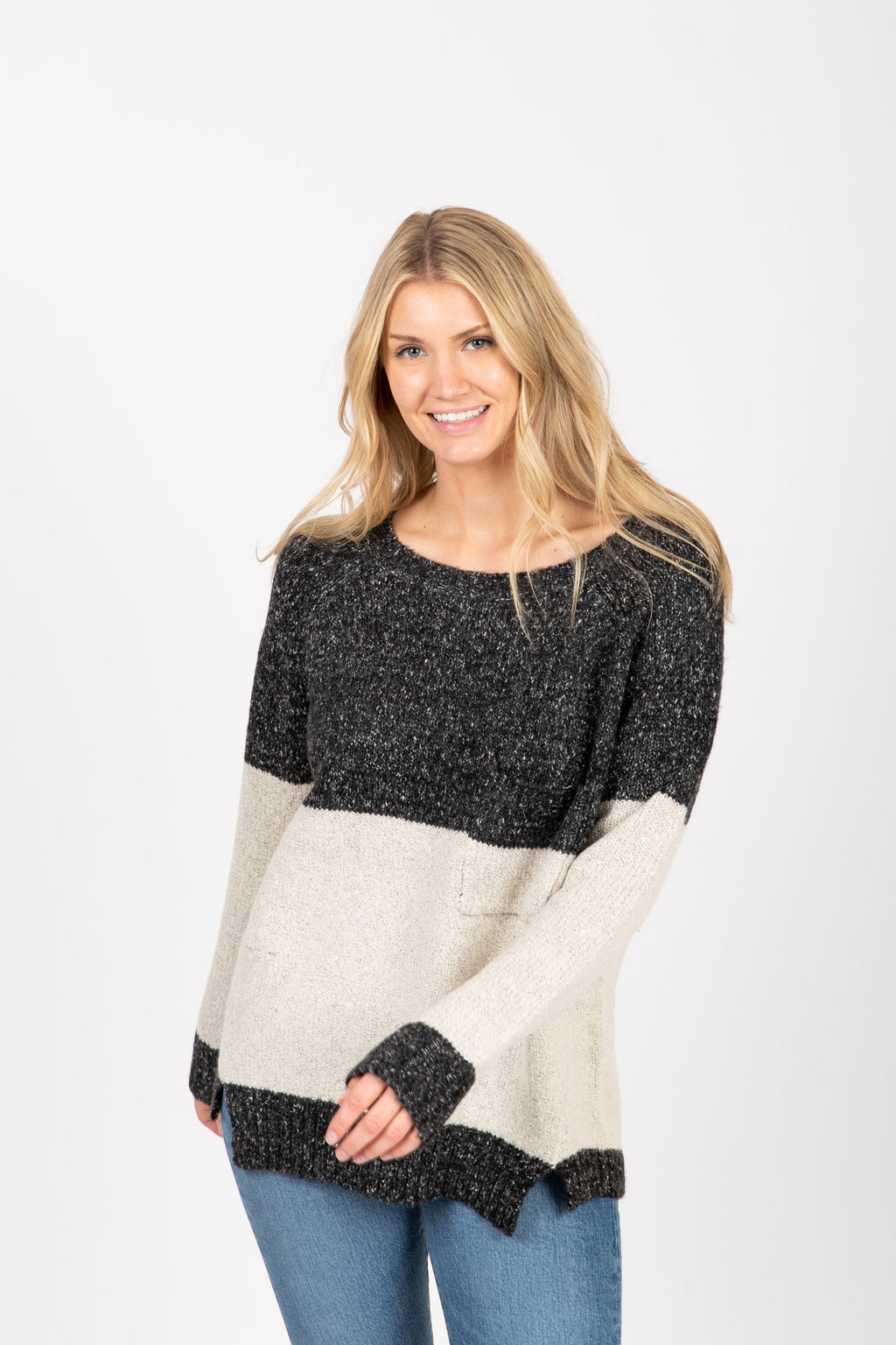 The Avenue Sweater in Black, studio shoot; front view