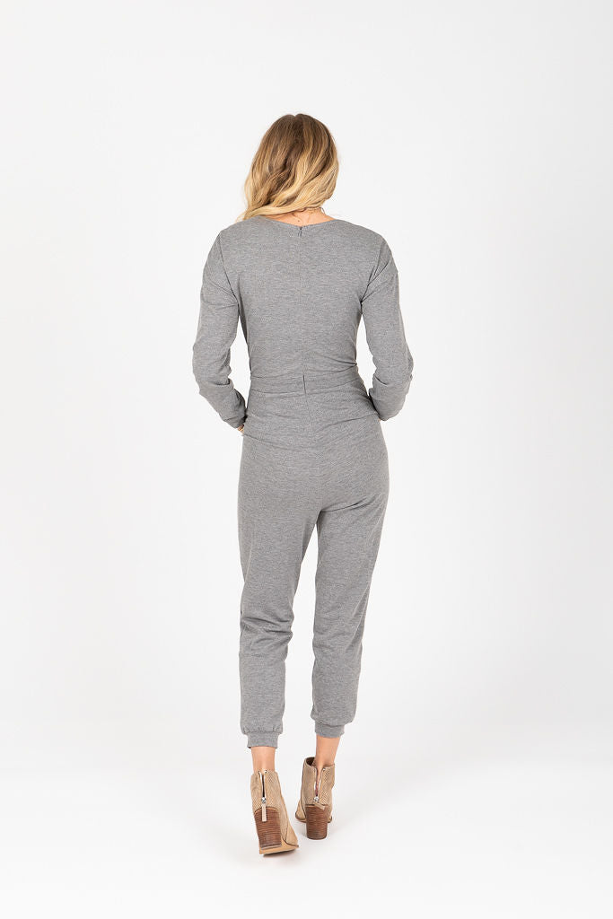 Piper & Scoot: The Soho Embroidered Jumpsuit in Heather Grey