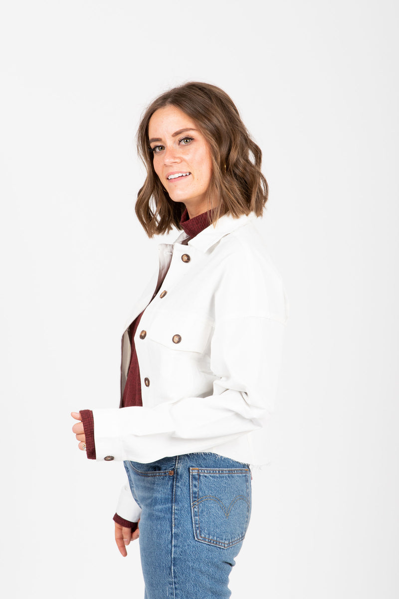 The Scosha Utility Shirt Jacket in White, studio shoot; side view