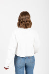 The Scosha Utility Shirt Jacket in White, studio shoot; back view
