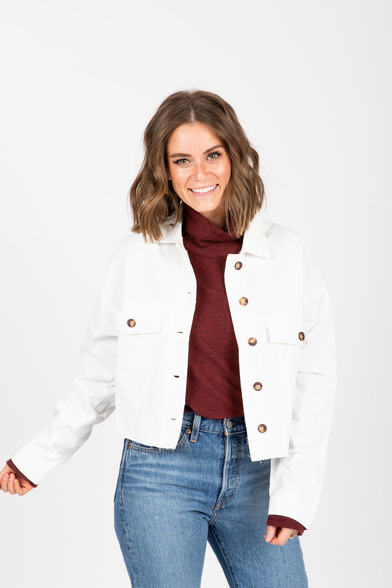 The Scosha Utility Shirt Jacket in White, studio shoot; front view