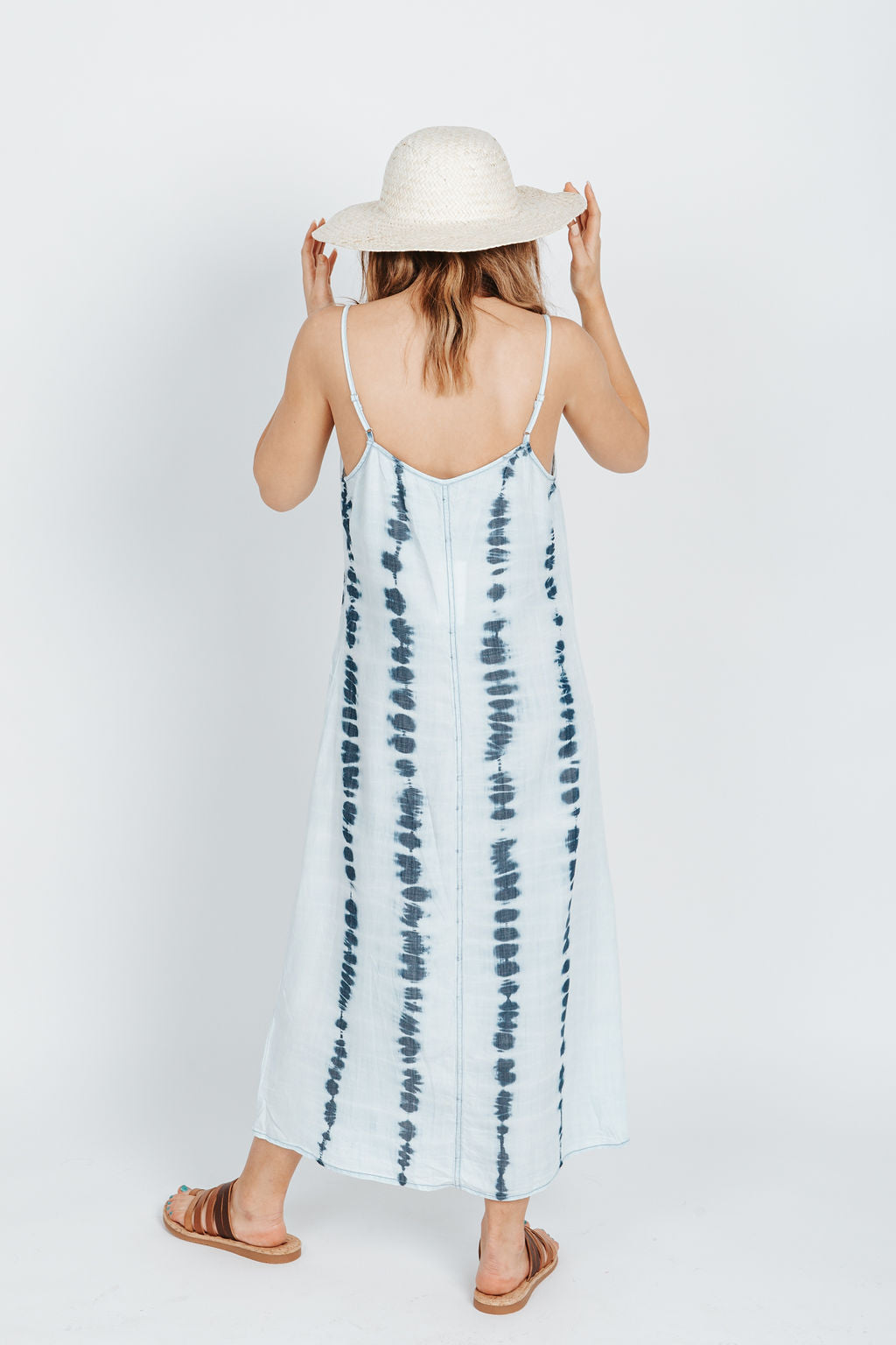 The Shubin Tie Dye Tank Dress in Light Denim, studio shoot; back view