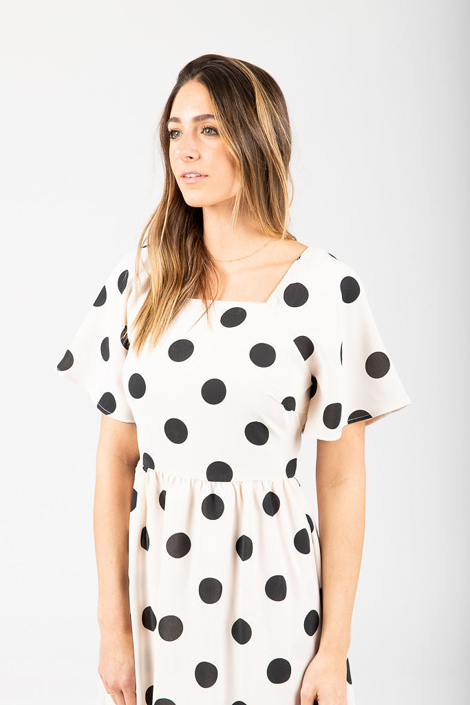 The Alyssa Retro Dot Dress in Cream