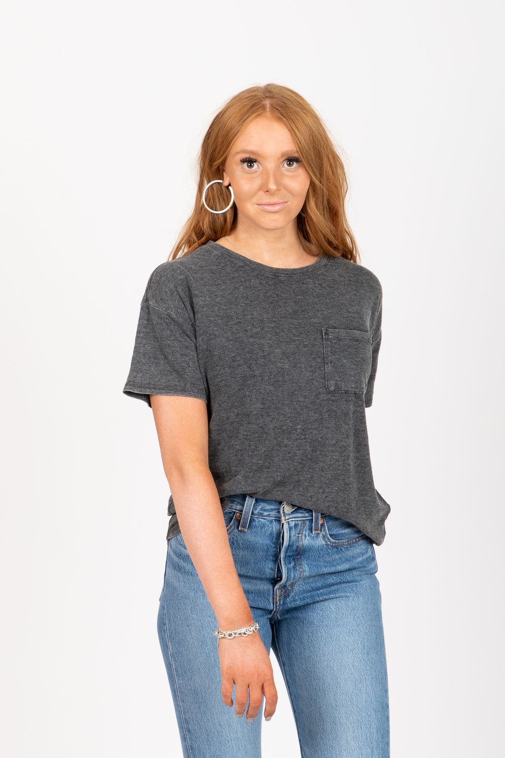 The Denison Pocket Tee in Charcoal