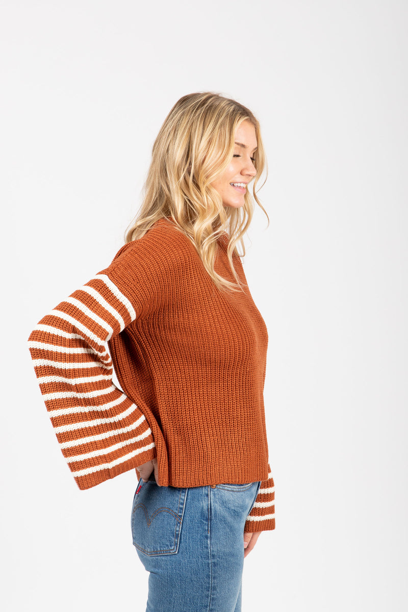 The Daisy Striped Sleeve Sweater in Rust