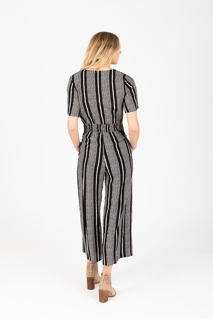 The Sophia Striped Wrap Jumpsuit in Black