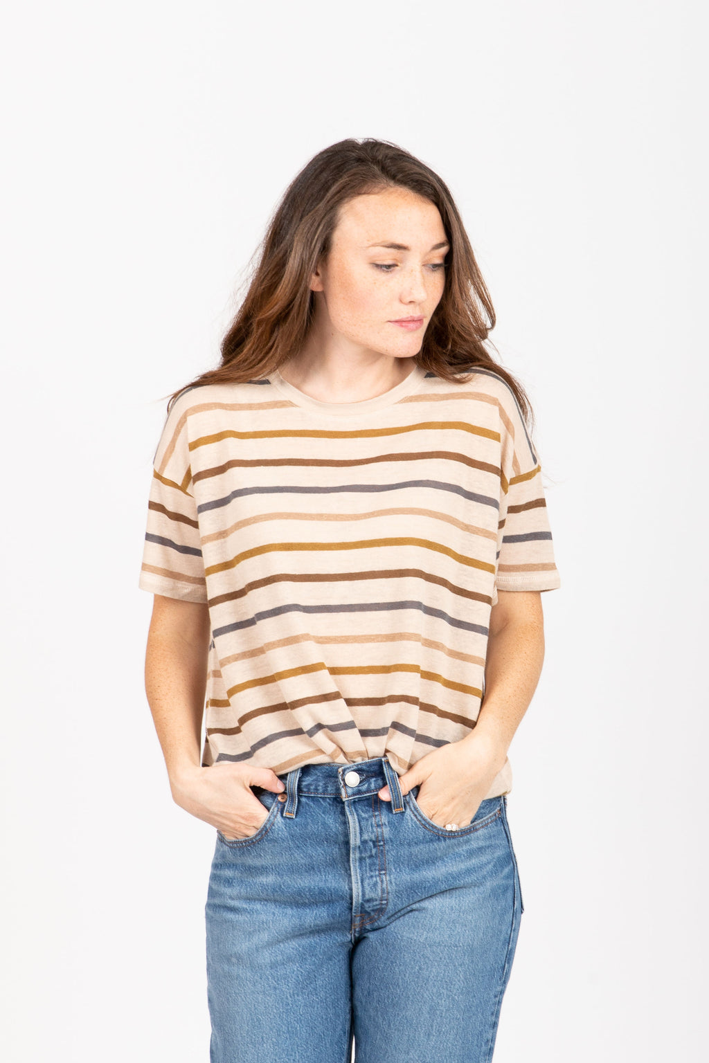 The Wheaton Striped Tee in Oatmeal