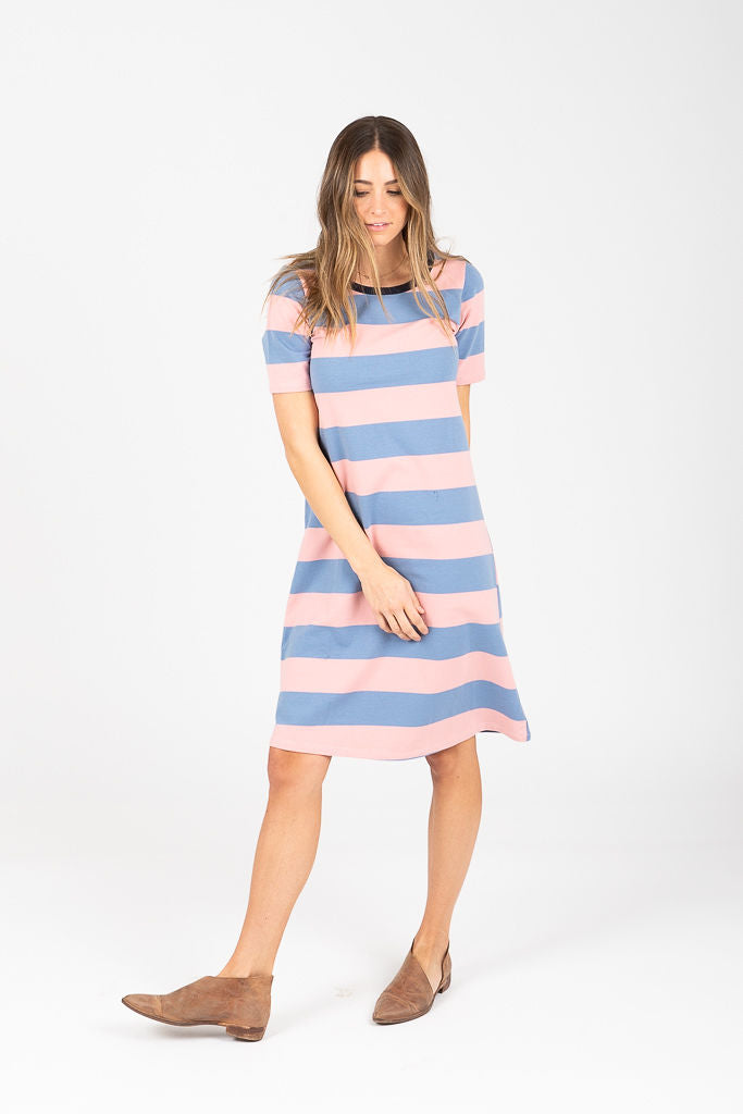 The Holland Striped Casual Dress in Blush