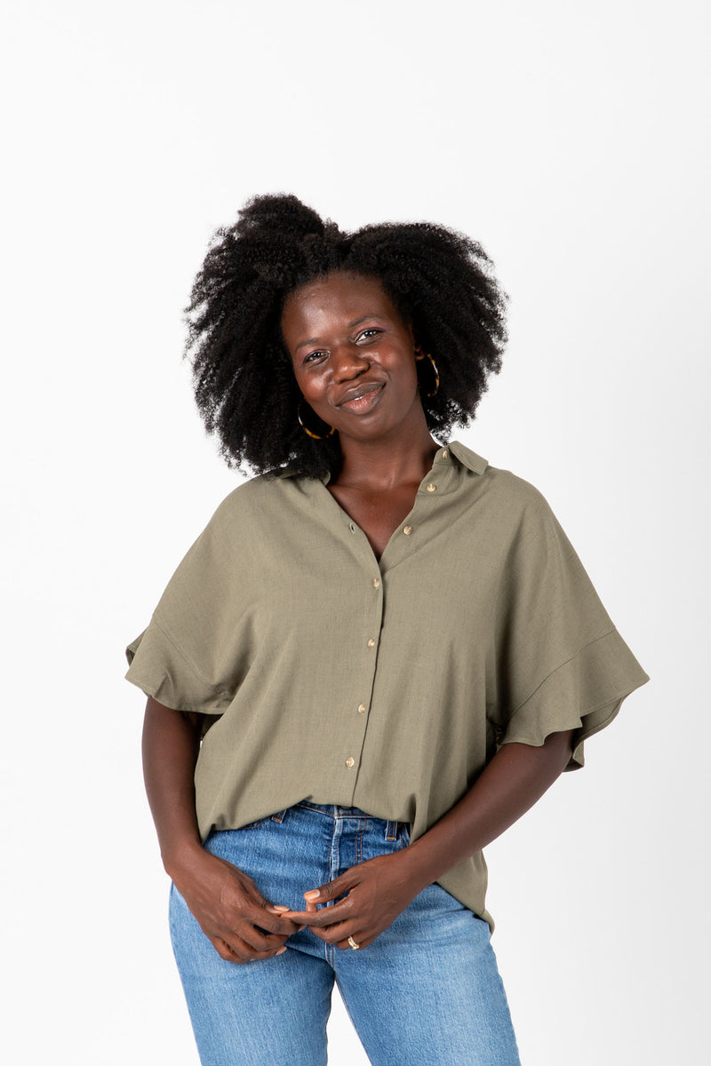 The Audrey Button Blouse in Sage, studio shoot; front view