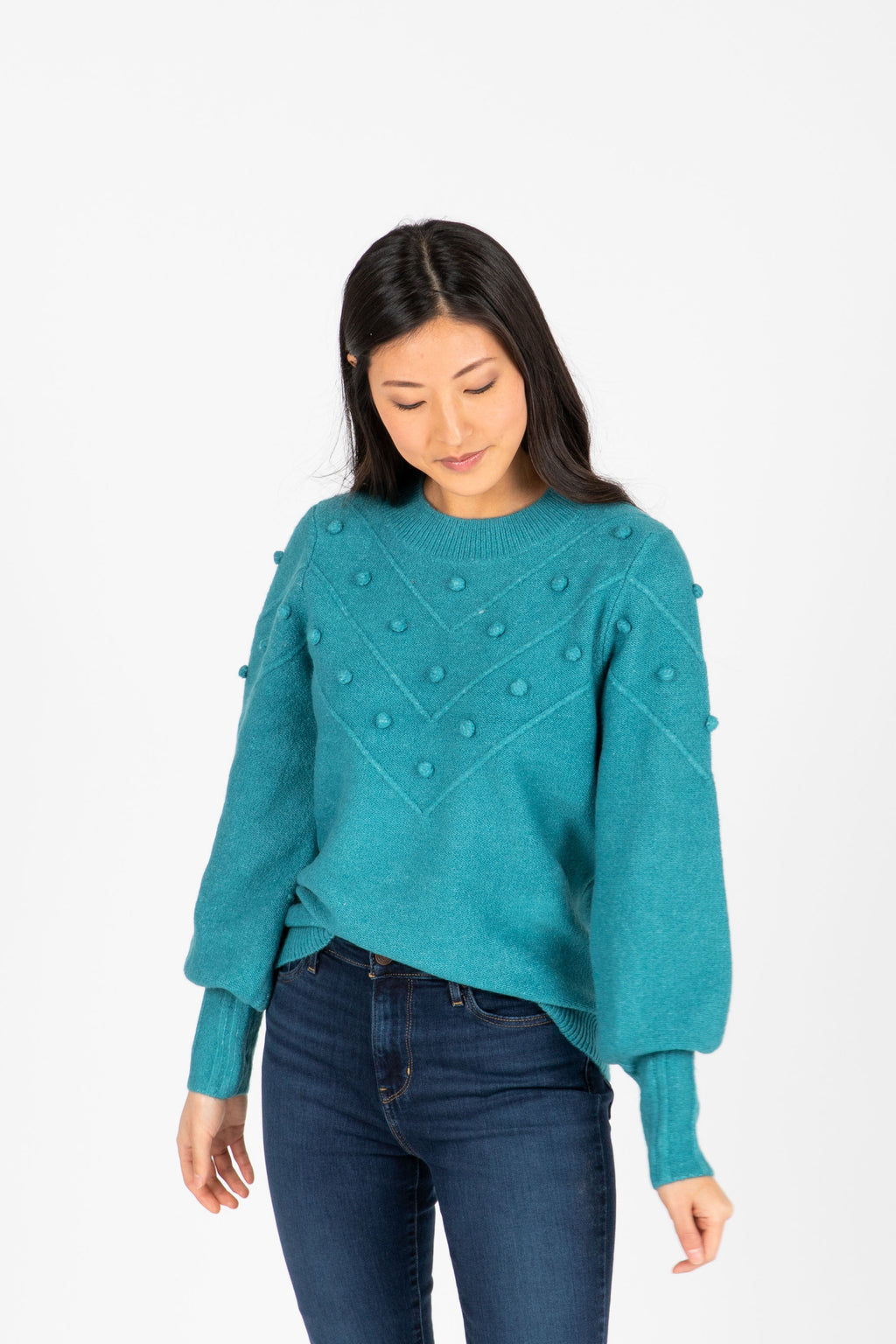 The Clyde Pom Sweater in Teal