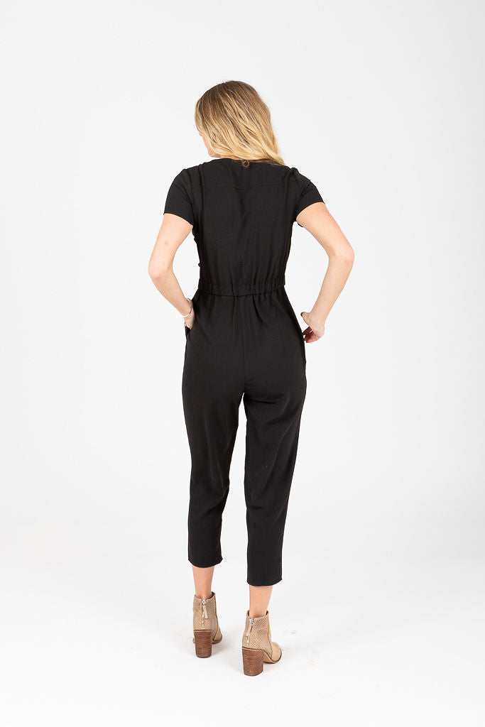 The Ana Side Tie Casual Jumpsuit in Black