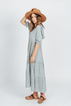 The Nadia Ruffle Detail Dress in Sage, studio shoot; side vie