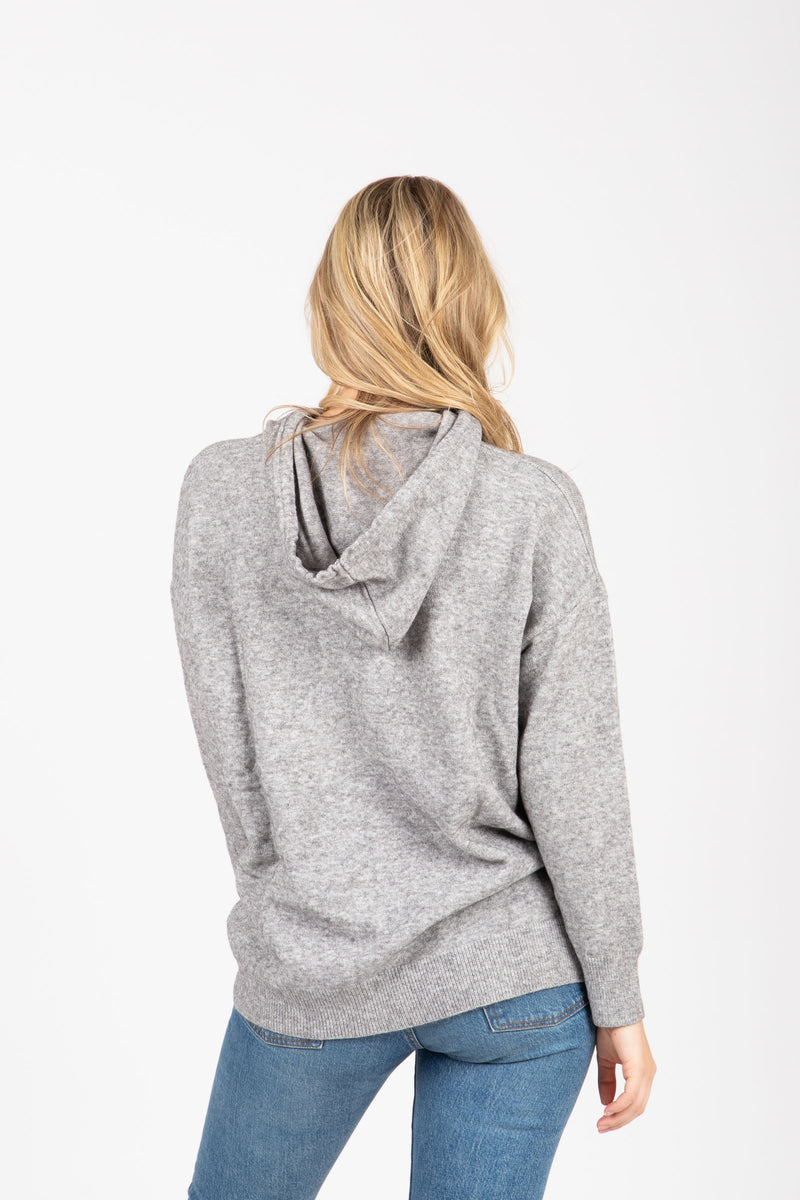 The Farnese Hooded Cozy Sweater in Heather Grey, studio shoot; back view