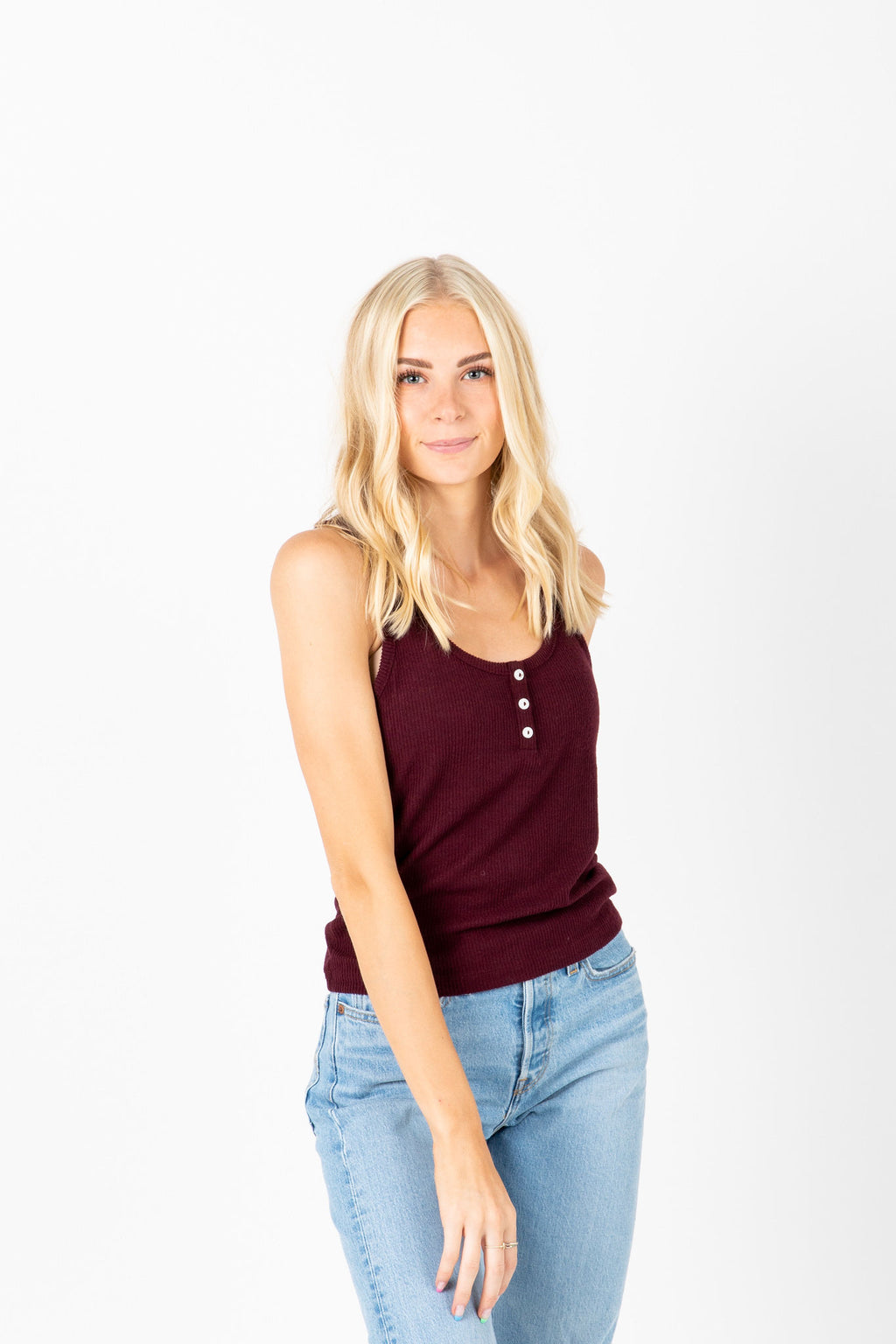 The Frank Ribbed Tank in Burgundy, studio shoot; front view