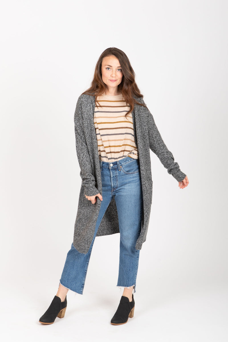The Eros Pocket Cardigan in Charcoal