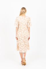 The Victoria Lace Textured Dress in Ivory