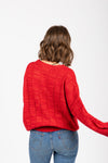 The Form Casual Sweater Blouse in Red, studio shoot; back view